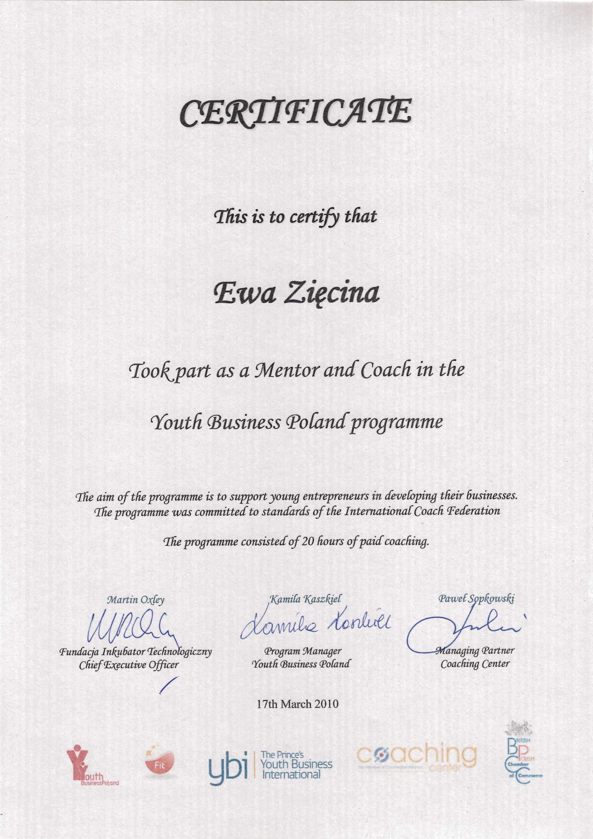 Certyfikat - Ewa Zięcina